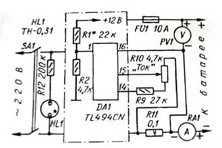 Схема зарядного устройства из БП для компьютера