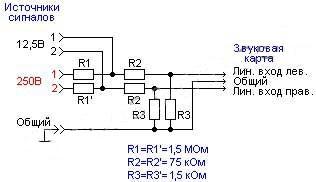 Схема самодельного осциллографа из компьютера