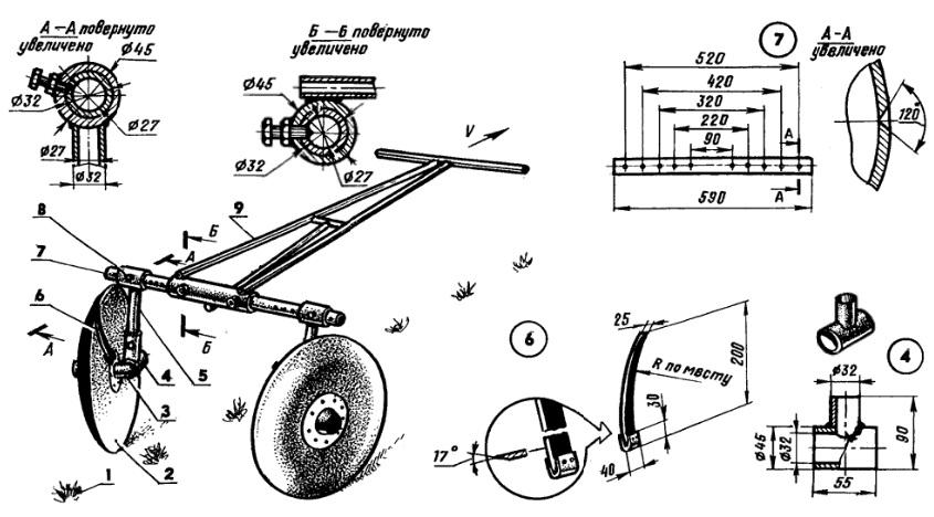 Дисковый окучник для мотоблока и чертежи