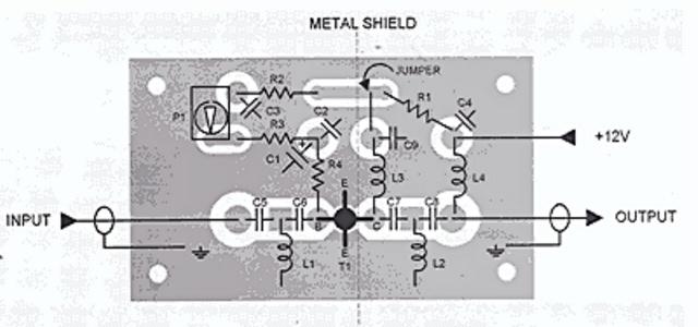 Схема печатной платы для усилителя