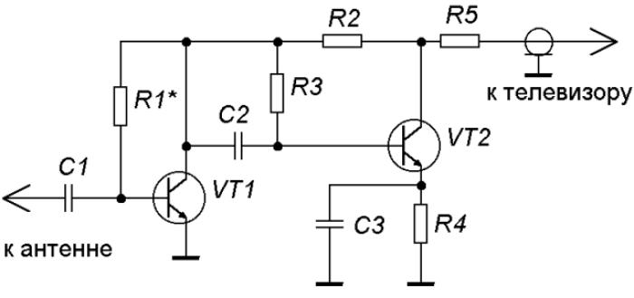 Схема широкополосного антенного усилителя