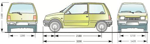 """Размеры автомобиля """"Ока"""""""