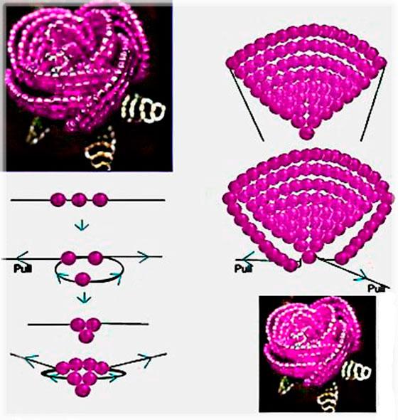 Схема плетения из бисера роза. видиосхемы животных по оригами из треугольных модулей.  Как плести цветы из бисера...