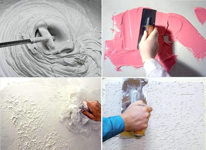 Декоративная штукатурка своими руками из шпаклевки покраска