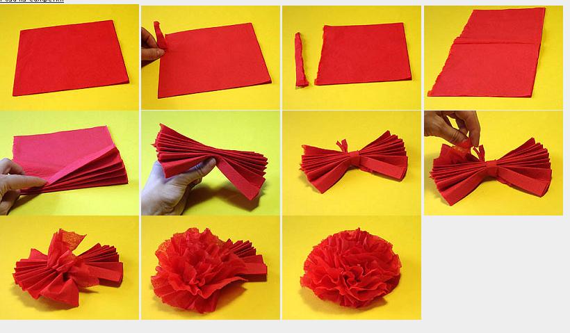 Как сделать розы из салфеток своими руками фото