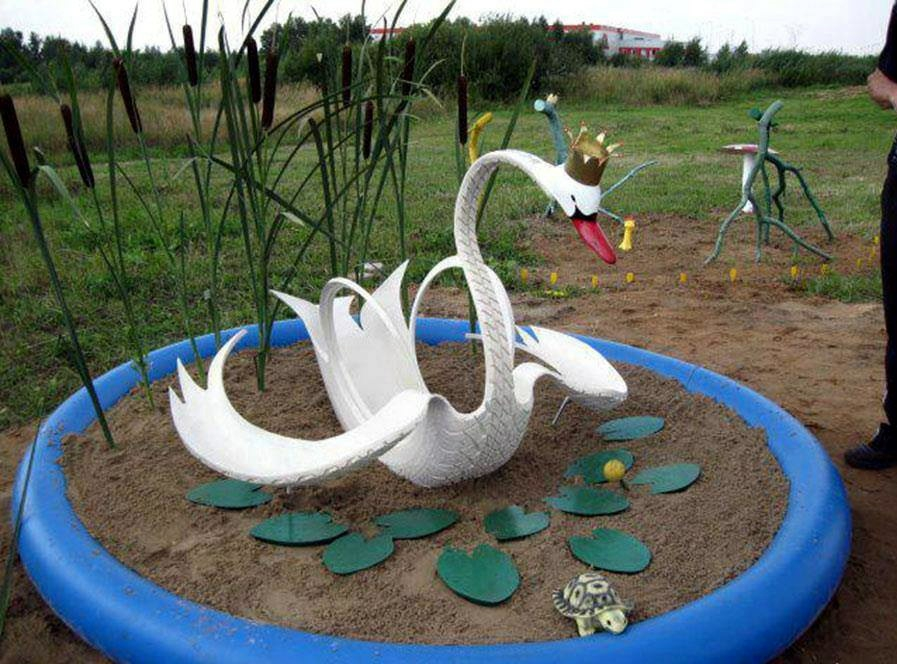 Лебеди из шин схема