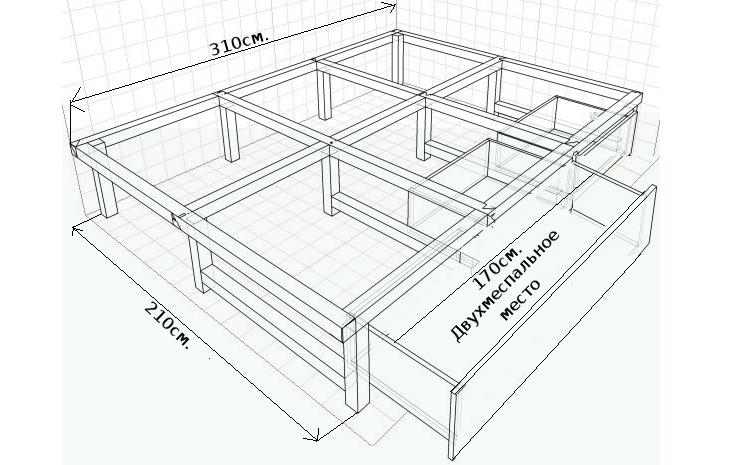 Выдвижная двуспальная кровать своими руками чертежи