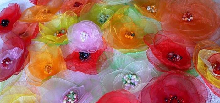 Мастер-класс цветов из органзы
