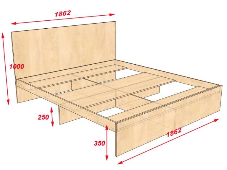 Кровать двуспальная своими руками из дерева фото и чертежи 68