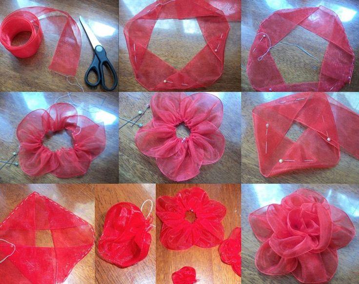 Как сделать цветы из ткани или ленты