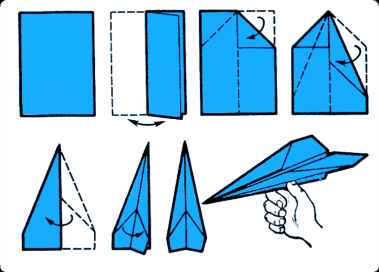 Как пошагово сделать самолётик из бумаги