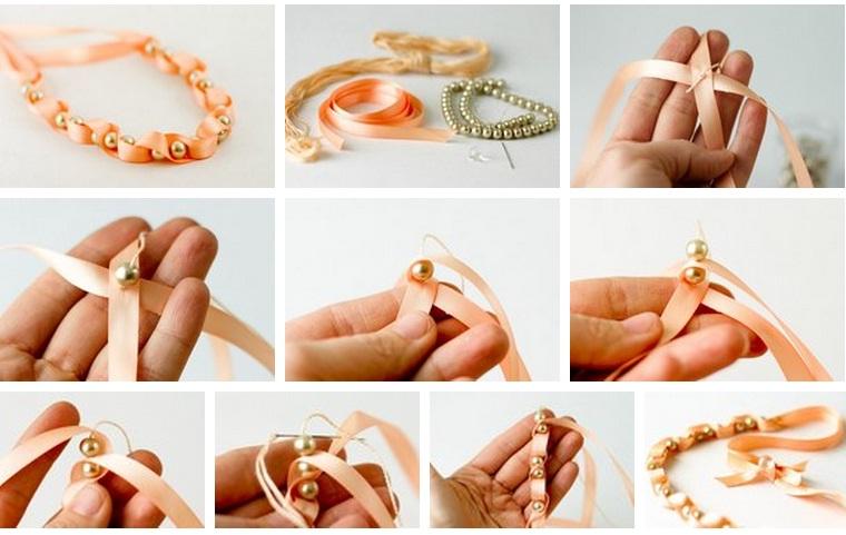 Как сделать браслеты из ленты и бусины