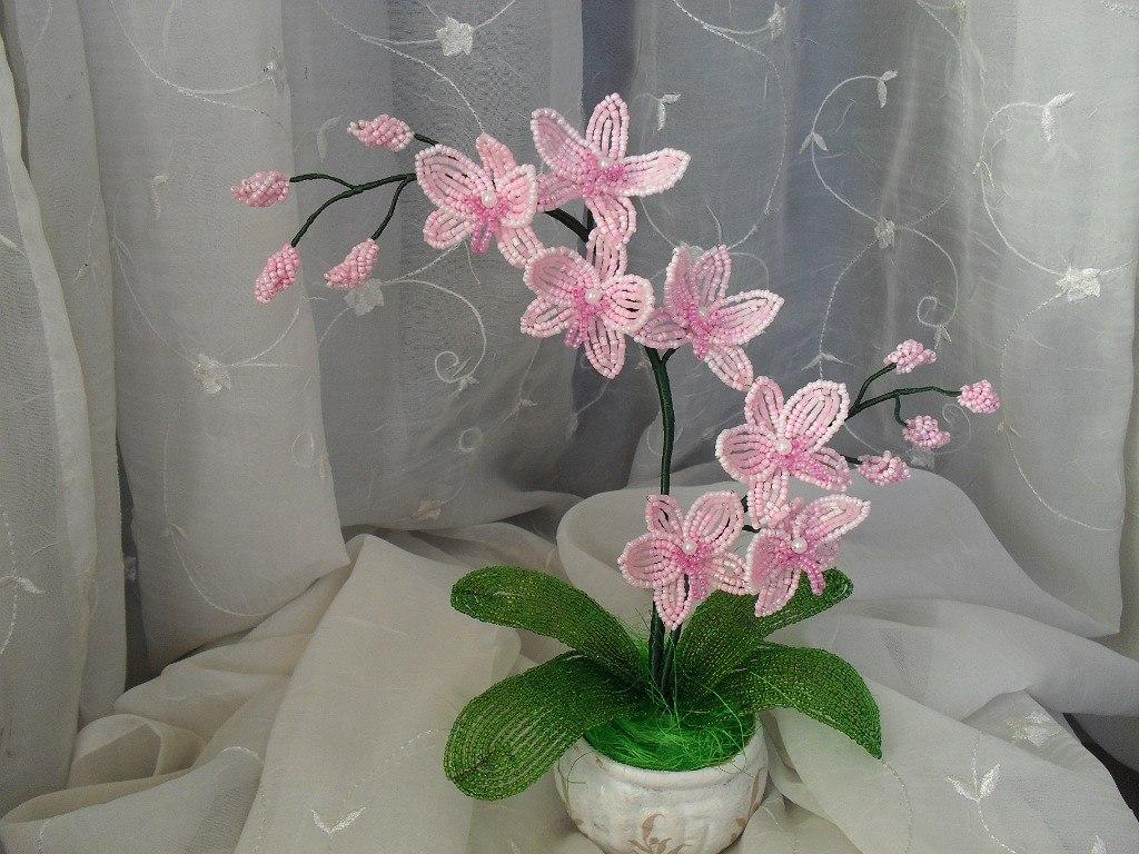 Из бисера как делать орхидею