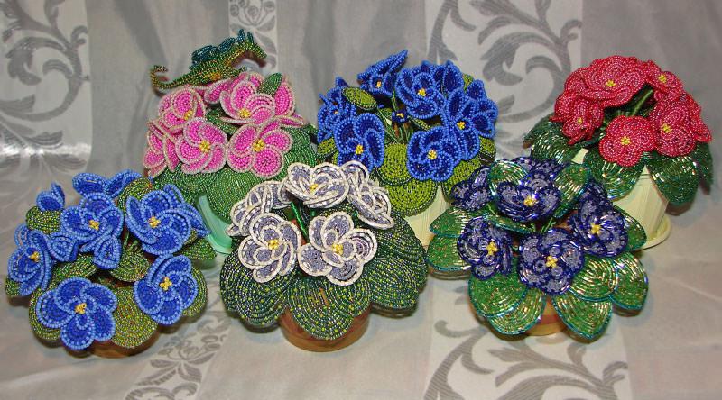 Цветы из бисера фиалка мастер класс с пошаговым фото для начинающих схема