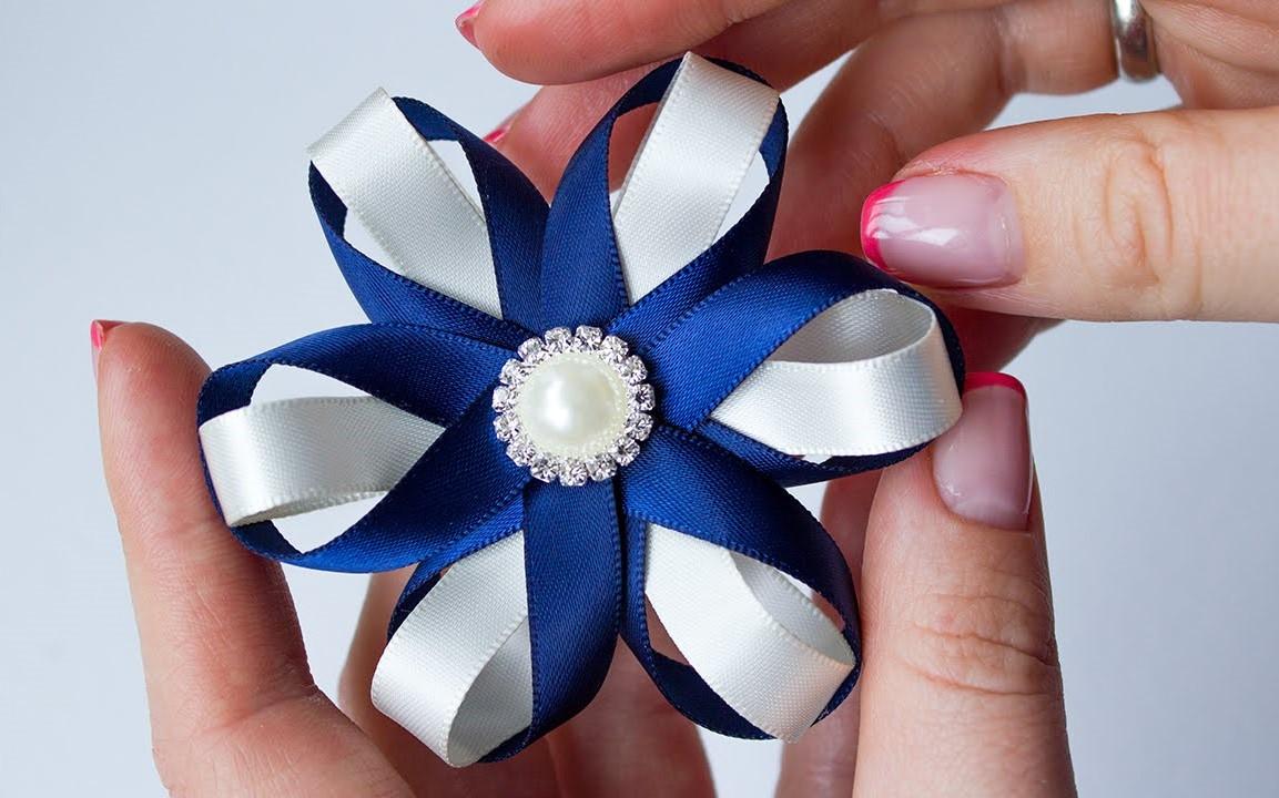 Цветок из светоотражающей ленты своими руками 54